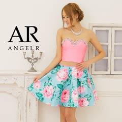 【P★10倍】[AngelR][2ピース]フリルシフォンカラービーズハイウエストミニドレス[AR5228][送料無料]