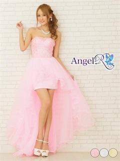 【P★10倍】[AngelR]シルバーレース刺繍オーガンジーベアインナーミニロングドレス[AR6226][送料無料]