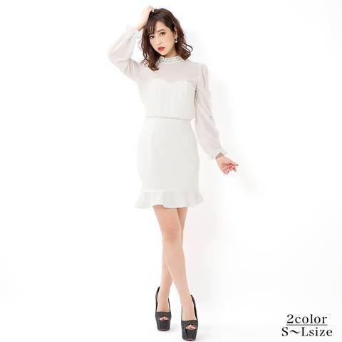 [SMLサイズ]シフォン長袖ワンカラー裾フリルタイトミニドレス[3サイズ展開]