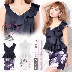 【盛りドレス】[SMLサイズ]豪華ビジュー×パール付flowerプリントペプラムタイトミニドレス[3サイズ展開]
