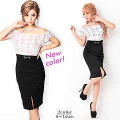 [SMLサイズ]オーバーチェックオフショルタイトドレス[3サイズ展開]