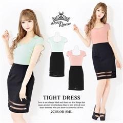 [SMLサイズ]バイカラー袖付き裾チュール透けタイトミニドレス[3サイズ展開]