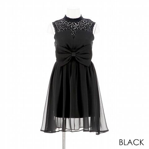 [GACKTプロデュース Spring Flower]デコルテ透けリボン付Aライン膝丈ドレス[3L-c/4L-cサイズ](ブラック-3L-c)