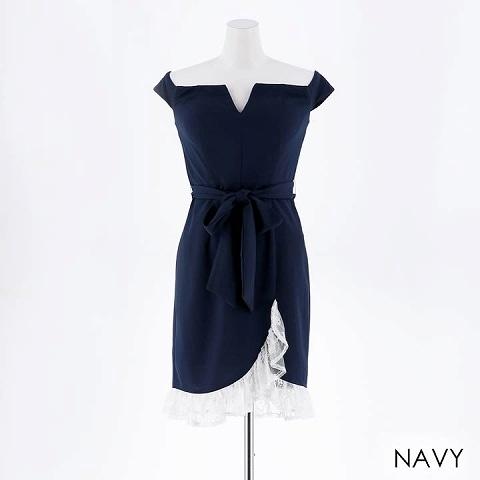 [SMLサイズ]オフショル胸元Vカットタイト膝丈ドレス[3サイズ展開](ネイビー-Sサイズ)