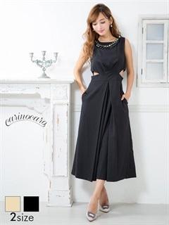 [SM/Mサイズ]ウエストカットアウトノースリーパンツドレス[2サイズ展開]