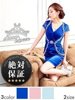 【絶対保証】[SM/Mサイズ]サテンシフォン刺繍レースタイトミニドレス[2サイズ展開]