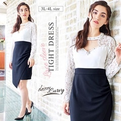 [3L-c/4L-cサイズ]谷間開きバイカラータイトドレス[2サイズ展開][dazzy Curvy]