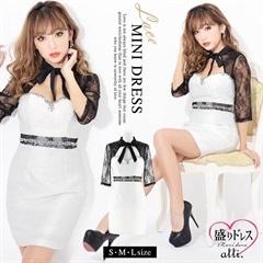 【盛りドレス】[SMLサイズ]ジャガードレースタイトミニドレス[3サイズ展開][1/23再入荷]