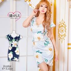 【盛りドレス】[SMLサイズ]ビジュー付2ピース風フラワープリントタイトミニドレス[3サイズ展開]