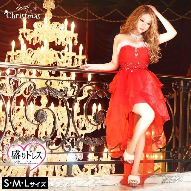 【盛りドレス】[SMLサイズ]ファー付スカラップロングテールカットインナーミニドレス[3サイズ展開][2018サンタ/コスプレ]