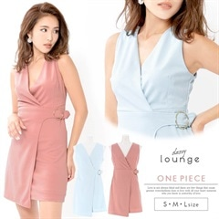 [SMLサイズ]ワンカラーラップ風ノースリーブドレス[3サイズ展開]