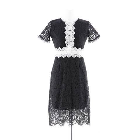 [XS~Lサイズ]総レースウエスト透けタイト膝丈ドレス[4サイズ展開](ブラック×ホワイト-XSサイズ)