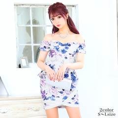 6/12UP[SMLサイズ]花柄ペプラムタイトミニドレス[3サイズ展開]