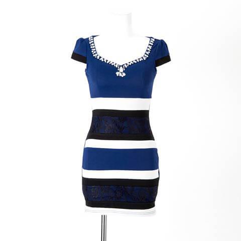 [S~LLサイズ]レースボーダータイトミニドレス[5サイズ展開](ブルー-S)