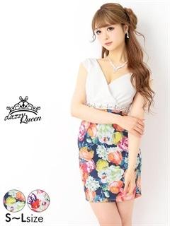 5/18UP[SMLサイズ]パールビジュー付オフショル花柄タイトミニドレス[3サイズ展開]