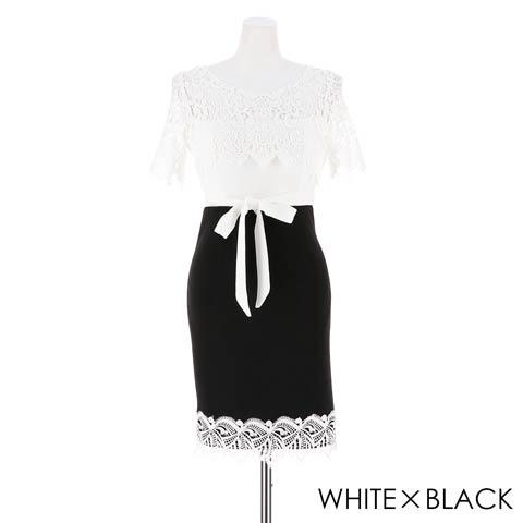 【価格改定】[S~3Lサイズ]デコルテレースxバイカラータイトミニドレス[5サイズ展開](ホワイトxブラック-XSサイズ)