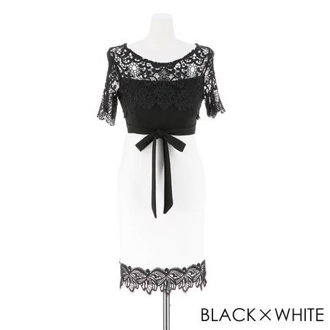 【価格改定】[S~3Lサイズ]デコルテレースxバイカラータイトミニドレス[5サイズ展開](ブラックxホワイト-XSサイズ)