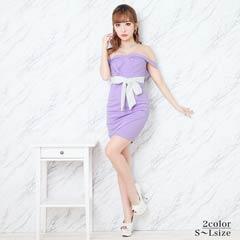 [SMLサイズ]ウエストリボンオフショルタイトミニドレス[3サイズ展開]