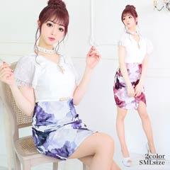 5/20UP[SMLサイズ]ベルト付き谷間ホールき花柄プリントタイトミニドレス[3サイズ展開]