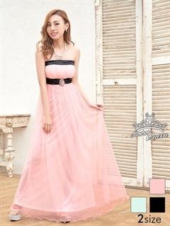 [SM/Mサイズ]ブローチ付きチュールAラインロングドレス[2サイズ展開]