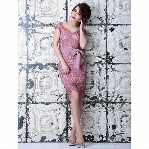 [Andy]ウエストリボン付フラワーレースタイト膝丈ドレス[AN-OK1646](ピンク-Sサイズ)