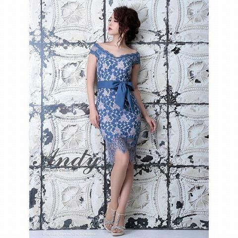 [Andy]ウエストリボン付フラワーレースタイト膝丈ドレス[AN-OK1646](ブルー-Sサイズ)