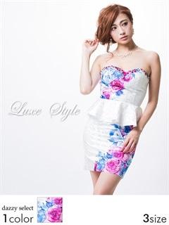 【P★10倍】[LuxeStyle]バラ柄ペプラムタイトミニドレス