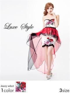 【P★10倍】[LuxeStyle]オーバースカート付き花柄ベアタイトミニドレス[51603]