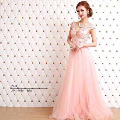 [AngelR]バックシアーレースフレアロングドレス[AR8330](ピンク-Sサイズ)