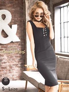 [SMLサイズ]ボタンモチーフ付きワンカラーミニドレス[3サイズ展開][change clothes