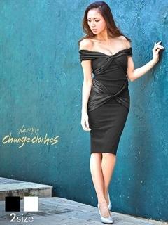 [S/Mサイズ]サテンリボンクロスデザインオフショルひざ丈ドレス[2サイズ展開][送料無料][change clothes]