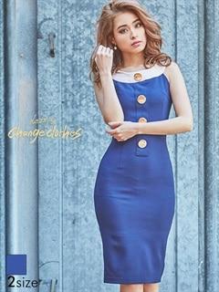 [S/Mサイズ]ボタン付スリット入りノースリタイトひざ丈ドレス[2サイズ展開][送料無料]
