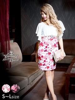 [SMLサイズ]薔薇柄ビジュー柄シフォンスリーブタイトミニドレス[3サイズ展開]