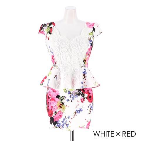[S~LLサイズ]ビビット花柄レースペプラムタイトミニドレス[4サイズ展開](ホワイト×レッド-S)