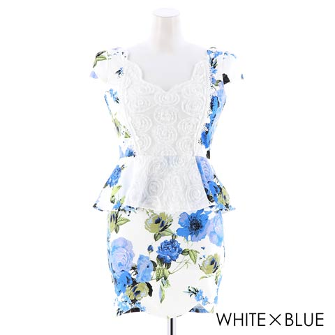 [S~LLサイズ]ビビット花柄レースペプラムタイトミニドレス[4サイズ展開](ホワイト×ブルー-S)
