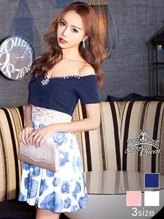[SMLサイズ]薔薇柄透け見せオフショルAラインミニドレス[3サイズ展開]