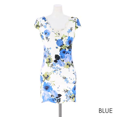 [S~LLサイズ]ビビッドフラワー柄スカラップカットタイトミニドレス[4サイズ展開](ブルー-S)
