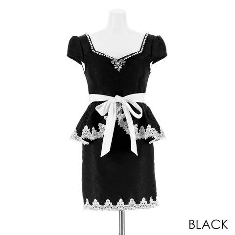[S~LLサイズ]ウエストリボンジャガードペプラムタイトミニドレス[4サイズ展開](ブラック-Sサイズ)
