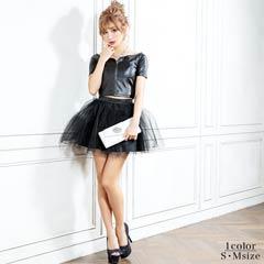 2/15UP[S/Mサイズ]2 piece leather tops & circular skirt dress -2ピースレザートップス&サーキュラースカートドレス-[2サイズ展開][送料無料]