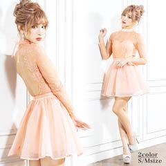 2/15UP[S/Mサイズ]Lace & Organza Flaremini Dress -レース&オーガンジーフレアミニドレス-[2サイズ展開][送料無料]
