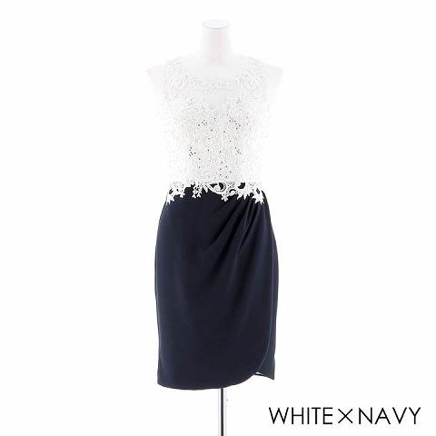 [S/Mサイズ]刺繍レースタイトドレス[2サイズ展開](ホワイトXネイビー-Sサイズ)