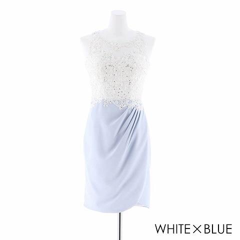 [S/Mサイズ]刺繍レースタイトドレス[2サイズ展開](ホワイトXブルー-Sサイズ)