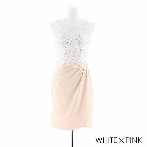 [S/Mサイズ]刺繍レースタイトドレス[2サイズ展開](ホワイトXピンク-Sサイズ)