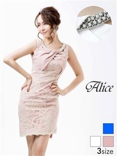 【P★10倍】[Alice][SMLサイズ]ビジューネックレースデザインノースリタイトミニドレス[3サイズ展開][52632][送料無料]