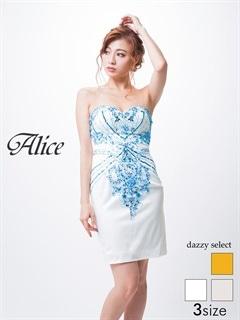 【P★10倍】[Alice][SMLサイズ]デザインビジュー背中編み上げベアタイトミニドレス[3サイズ展開][送料無料]