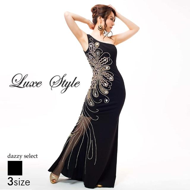【P★10倍】[LuxeStyle][SMLサイズ]シアーワンショルダータイトロングドレス[3サイズ展開][51604][送料無料]