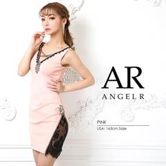 【P★10倍】[AngelR]デコルテクロスデザインアシンメトリーシアーレッグタイトミニドレス[AR9212][送料無料]
