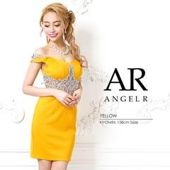 7/5UP【P★10倍】[AngelR]ウエストシアーパール&ビジューオフショルダータイトミニドレス[AR9324][送料無料]