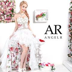 9/30UP【P★10倍】[AngelR]フラワーデザインオーガンジー前ミニロングドレス[AR9225][送料無料]