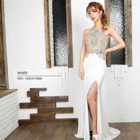 [AngelR]ビジューデザインスリットタイトロングドレス[AR9835](ホワイト-Sサイズ)